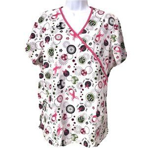 SB Scrubs Scrub Top Medium White BREAST CANCER